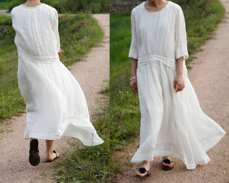 5cca7152b3 White Women Dress Maxi Dress Casual Loose Fitting Linen Long Dress Blouse  Women Clothing
